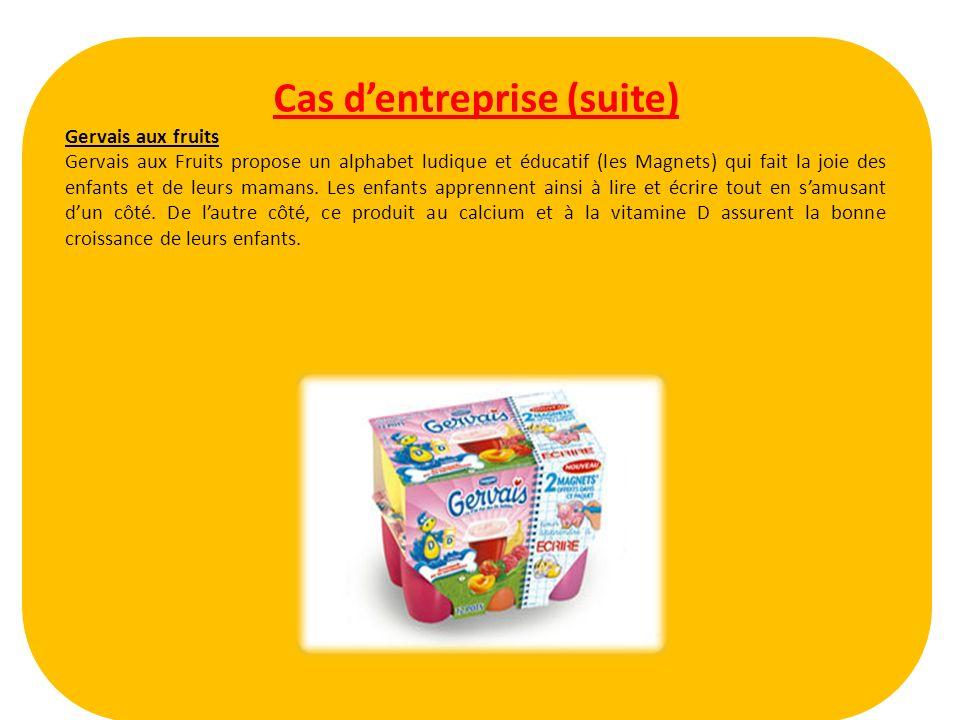Cas dentreprise (suite) Gervais aux fruits Gervais aux Fruits propose un alphabet ludique et éducatif (les Magnets) qui fait la joie des enfants et de