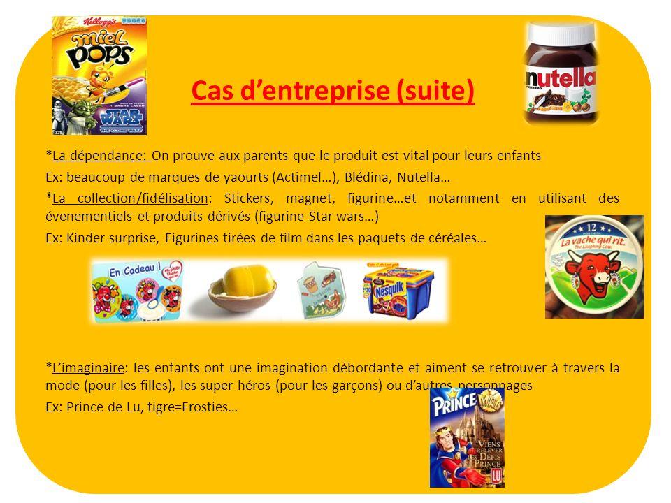 Cas dentreprise (suite) *La dépendance: On prouve aux parents que le produit est vital pour leurs enfants Ex: beaucoup de marques de yaourts (Actimel…