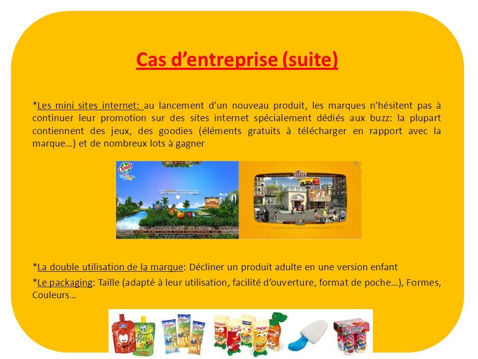 Cas dentreprise (suite) *Les mini sites internet: au lancement dun nouveau produit, les marques nhésitent pas à continuer leur promotion sur des sites
