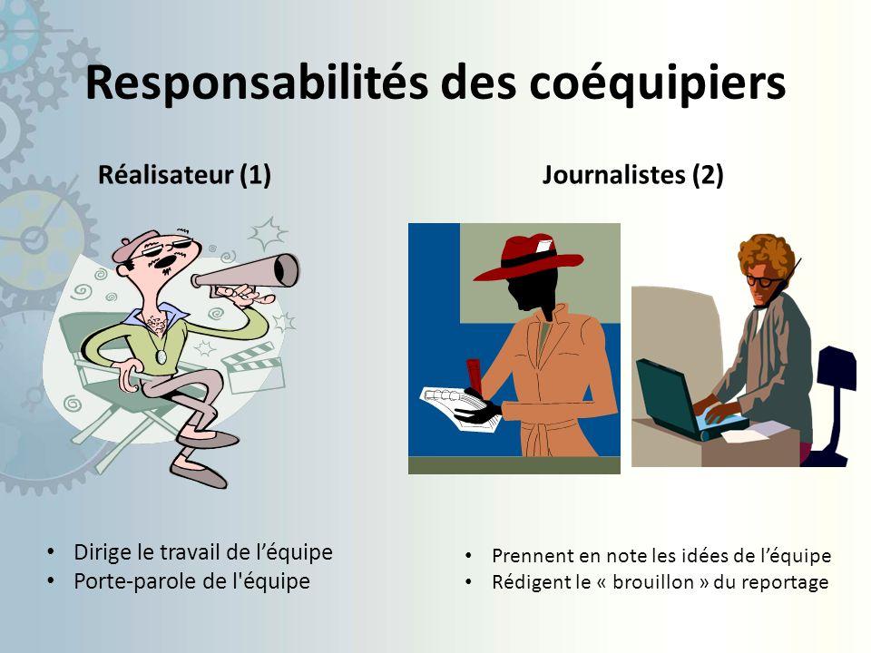 Responsabilités des coéquipiers Réalisateur (1)Journalistes (2) Dirige le travail de léquipe Porte-parole de l équipe Prennent en note les idées de léquipe Rédigent le « brouillon » du reportage