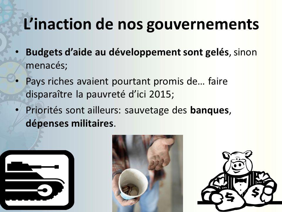 Linaction de nos gouvernements Budgets daide au développement sont gelés, sinon menacés; Pays riches avaient pourtant promis de… faire disparaître la pauvreté dici 2015; Priorités sont ailleurs: sauvetage des banques, dépenses militaires.