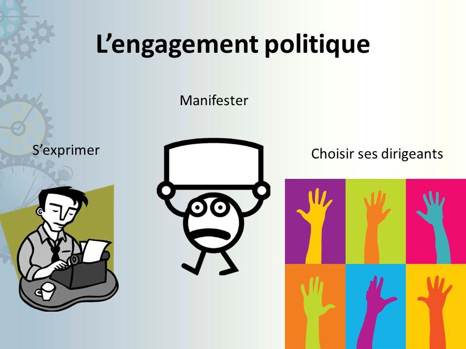 Lengagement politique Sexprimer Choisir ses dirigeants Manifester