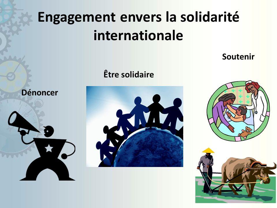Engagement envers la solidarité internationale Dénoncer Être solidaire Soutenir
