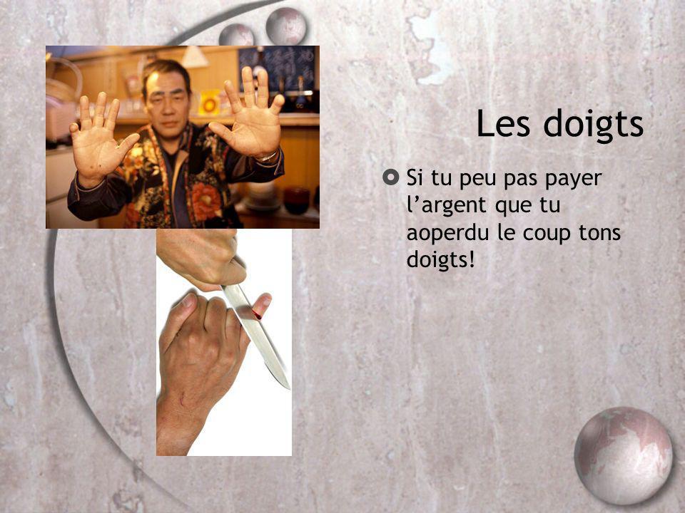 Les doigts Si tu peu pas payer largent que tu aoperdu le coup tons doigts!