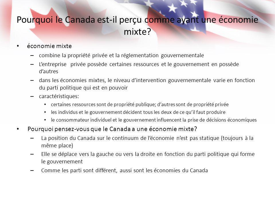 Pourquoi le Canada est-il perçu comme ayant une économie mixte? économie mixte – combine la propriété privée et la réglementation gouvernementale – Le