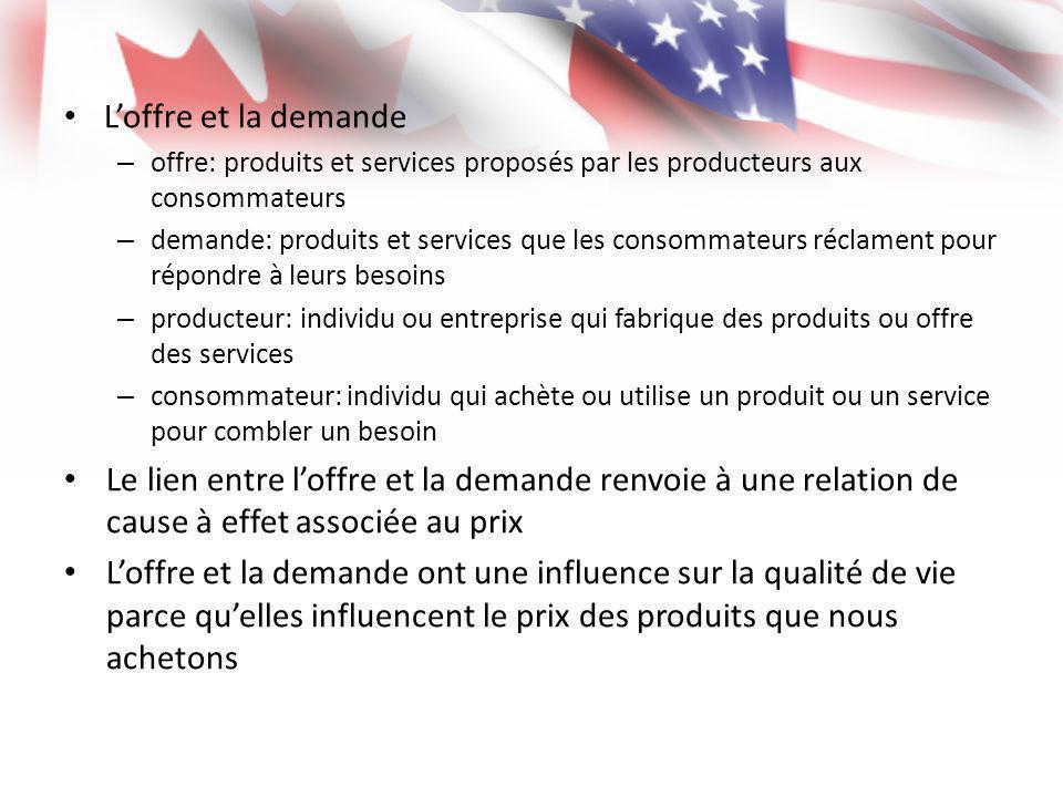 Loffre et la demande – offre: produits et services proposés par les producteurs aux consommateurs – demande: produits et services que les consommateur