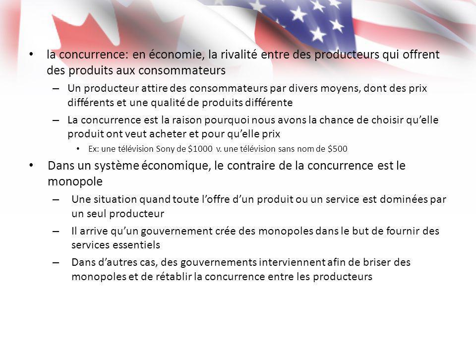 la concurrence: en économie, la rivalité entre des producteurs qui offrent des produits aux consommateurs – Un producteur attire des consommateurs par