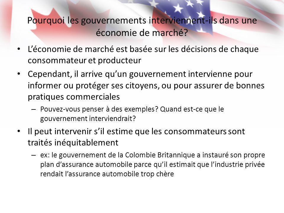 Pourquoi les gouvernements interviennent-ils dans une économie de marché? Léconomie de marché est basée sur les décisions de chaque consommateur et pr