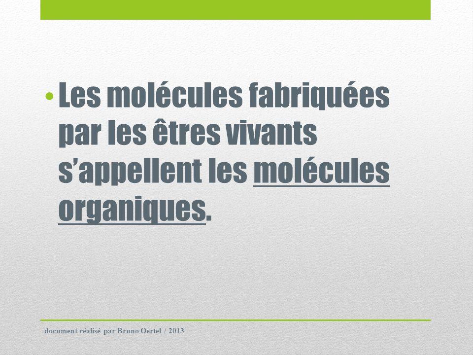 Les molécules fabriquées par les êtres vivants sappellent les molécules organiques. document réalisé par Bruno Oertel / 2013