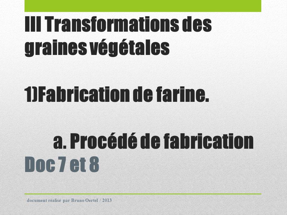 III Transformations des graines végétales 1)Fabrication de farine. a. Procédé de fabrication Doc 7 et 8 document réalisé par Bruno Oertel / 2013
