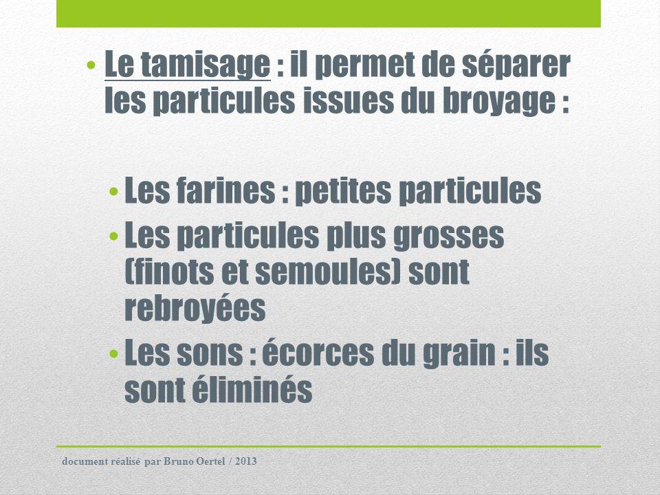 Le tamisage : il permet de séparer les particules issues du broyage : Les farines : petites particules Les particules plus grosses (finots et semoules