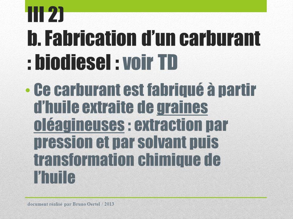 III 2) b. Fabrication dun carburant : biodiesel : voir TD Ce carburant est fabriqué à partir dhuile extraite de graines oléagineuses : extraction par