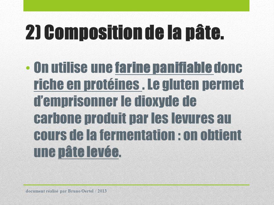 2) Composition de la pâte. On utilise une farine panifiable donc riche en protéines. Le gluten permet demprisonner le dioxyde de carbone produit par l