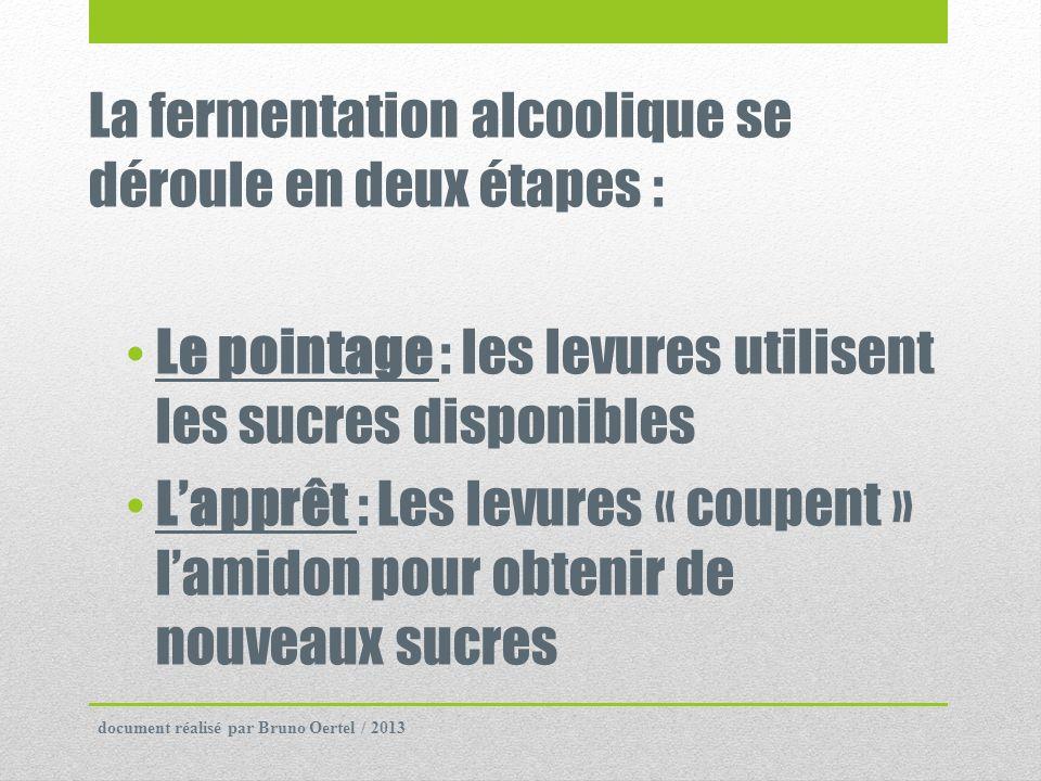 La fermentation alcoolique se déroule en deux étapes : Le pointage : les levures utilisent les sucres disponibles Lapprêt : Les levures « coupent » la