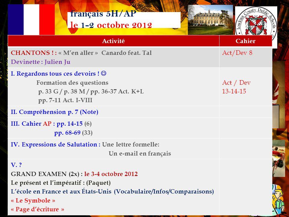 français 5H/AP Corrigeons les devoirs pp. 36-37 Act. K-L