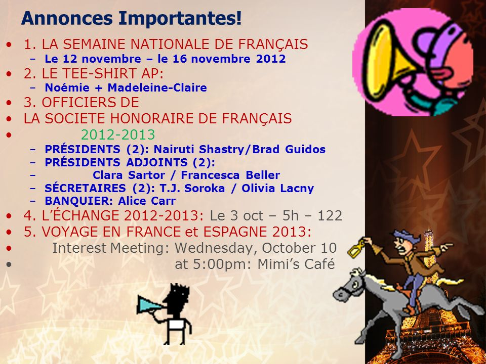 français 1 le 2 octobre 2012 ActivitéCahier Feminine Objects 3x each w/English – DUE NOW.