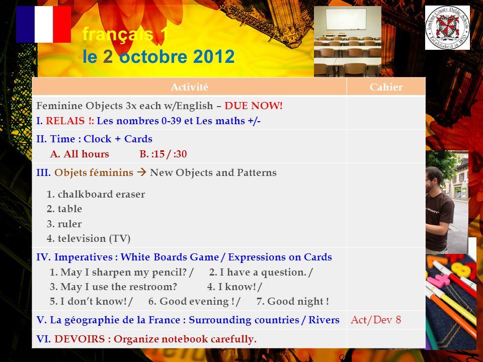 Annonces Importantes. 1. LA SEMAINE NATIONALE DE FRANÇAIS –Le 12 novembre – le 16 novembre 2012 2.