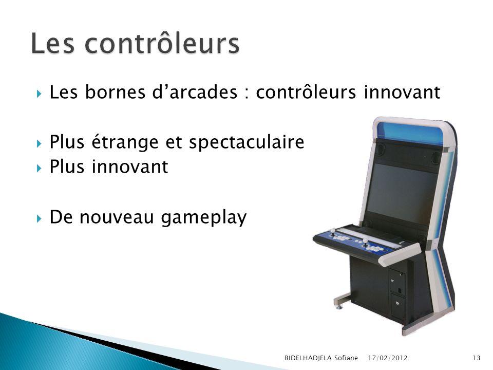 Les bornes darcades : contrôleurs innovant Plus étrange et spectaculaire Plus innovant De nouveau gameplay 17/02/2012 BIDELHADJELA Sofiane13
