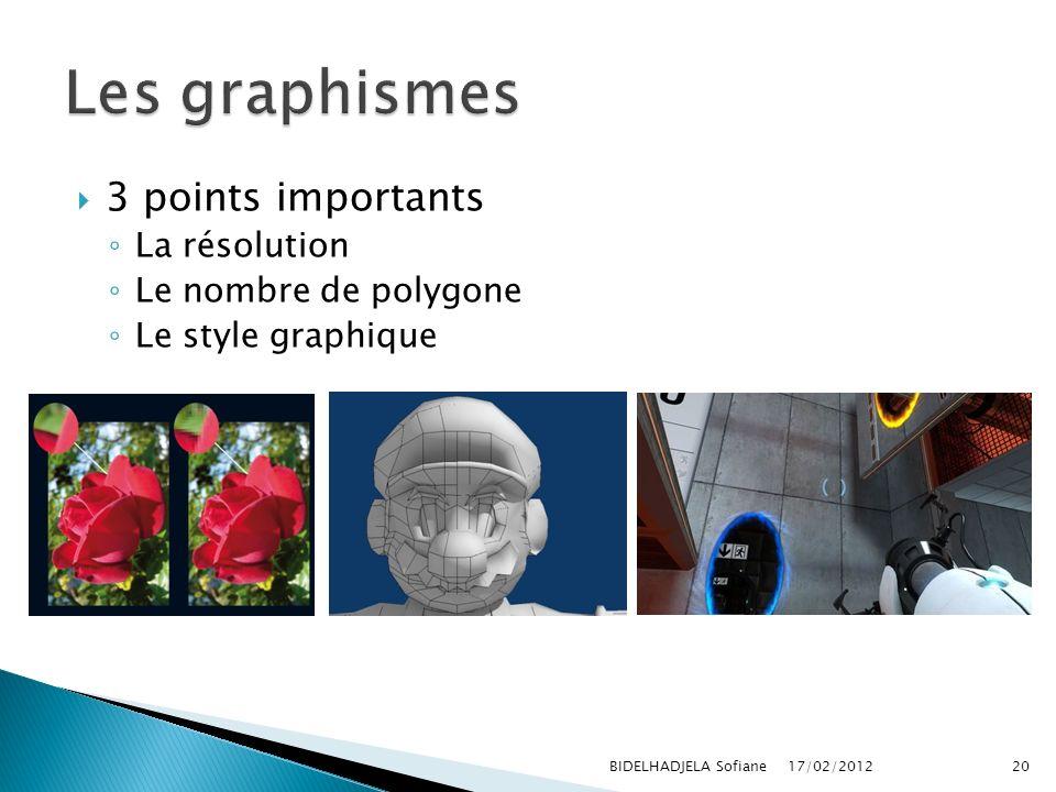 17/02/2012 BIDELHADJELA Sofiane20 3 points importants La résolution Le nombre de polygone Le style graphique