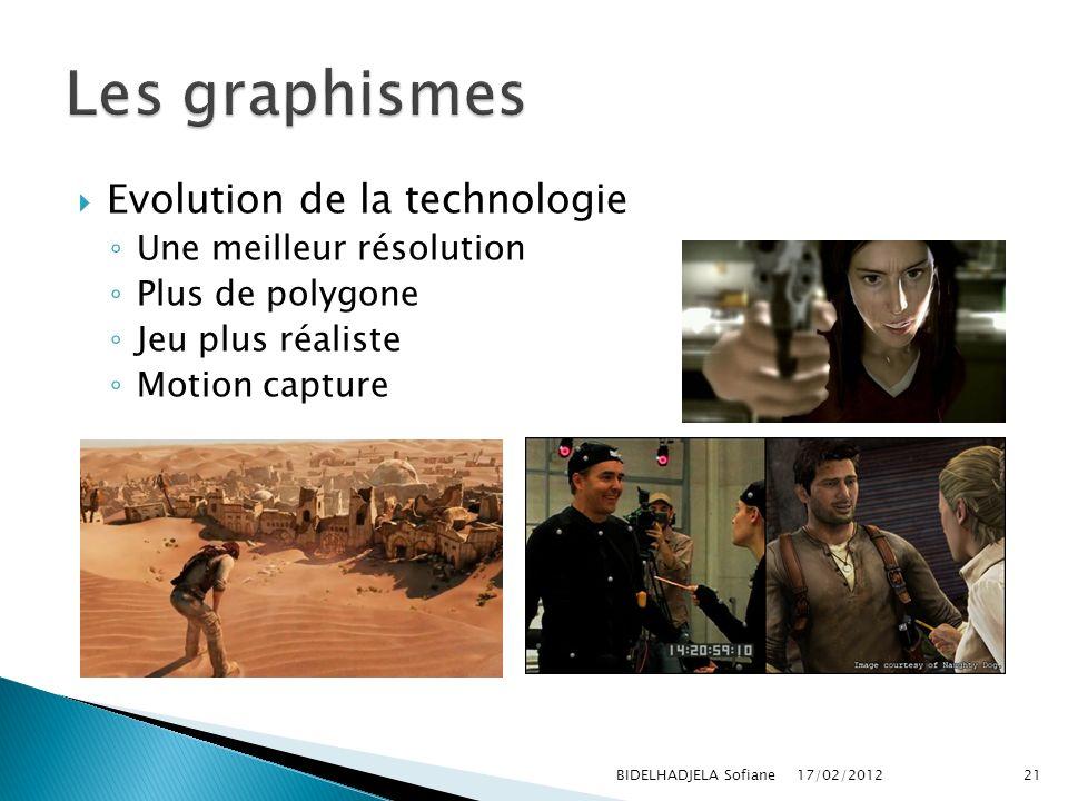 17/02/2012 BIDELHADJELA Sofiane21 Evolution de la technologie Une meilleur résolution Plus de polygone Jeu plus réaliste Motion capture