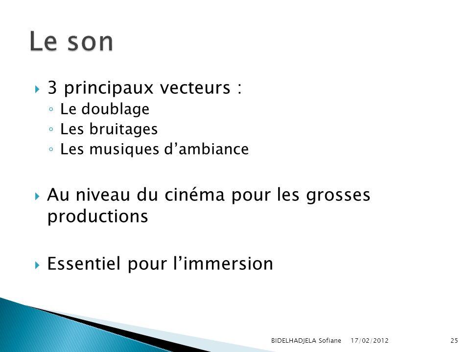 17/02/2012 BIDELHADJELA Sofiane25 3 principaux vecteurs : Le doublage Les bruitages Les musiques dambiance Au niveau du cinéma pour les grosses produc