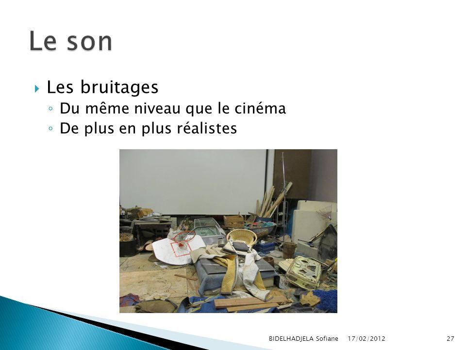 17/02/2012 BIDELHADJELA Sofiane27 Les bruitages Du même niveau que le cinéma De plus en plus réalistes