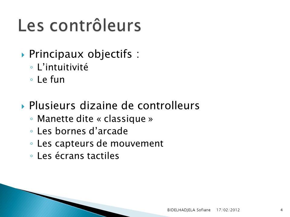 Principaux objectifs : Lintuitivité Le fun Plusieurs dizaine de controlleurs Manette dite « classique » Les bornes darcade Les capteurs de mouvement L