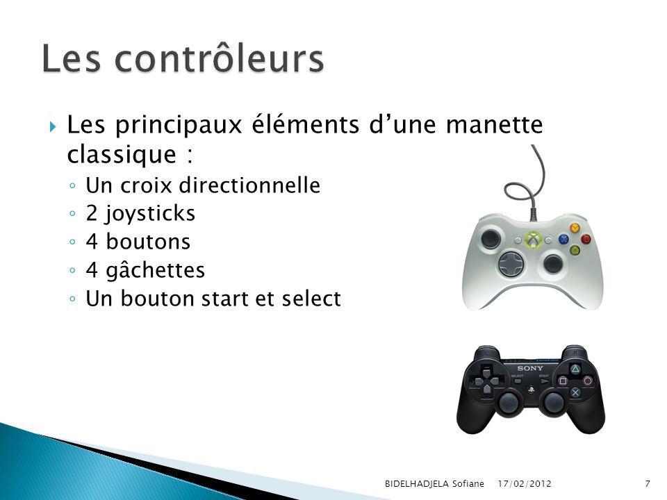 Les principaux éléments dune manette classique : Un croix directionnelle 2 joysticks 4 boutons 4 gâchettes Un bouton start et select 17/02/2012 BIDELH