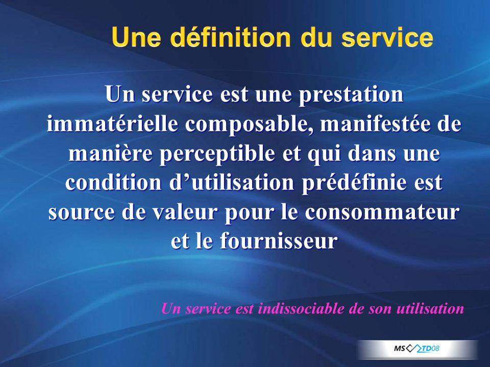 Une définition du service Un service est une prestation immatérielle composable, manifestée de manière perceptible et qui dans une condition dutilisat