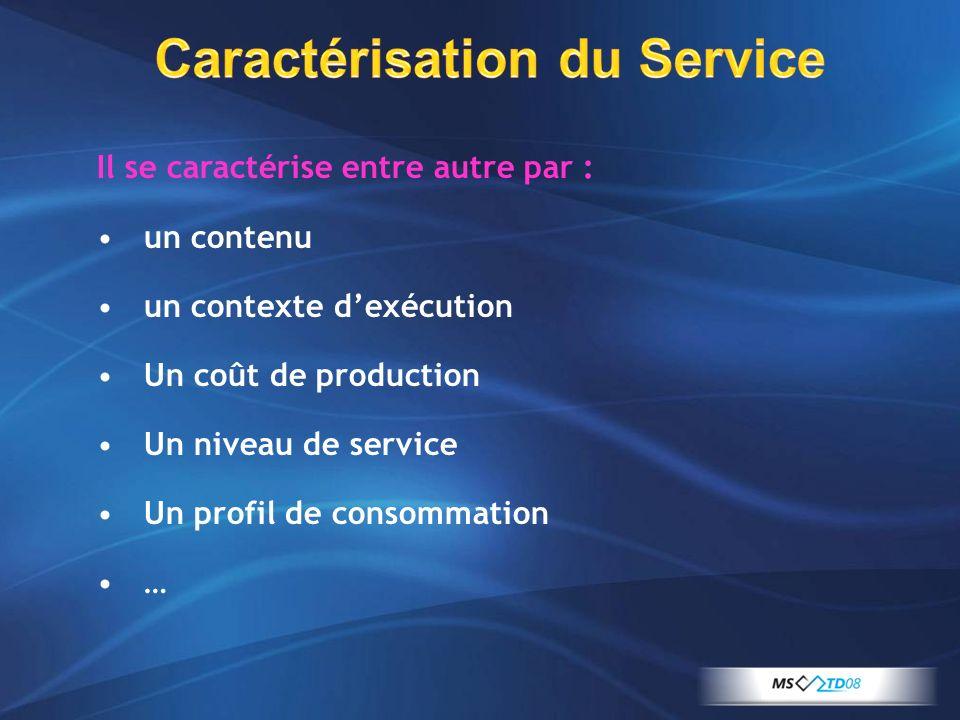 Caractérisation du Service Il se caractérise entre autre par : un contenu un contexte dexécution Un coût de production Un niveau de service Un profil