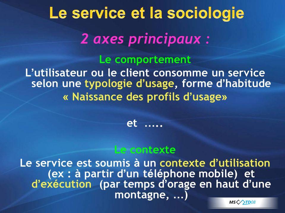 Le service et la sociologie Le comportement L utilisateur ou le client consomme un service selon une typologie d usage, forme d habitude « Naissance d