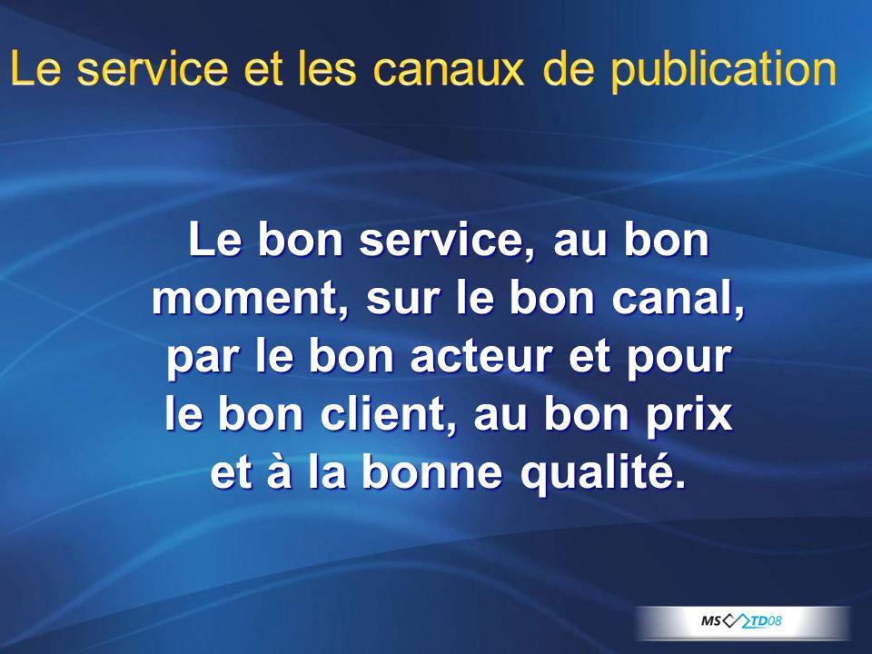 Le service et les canaux de publication Le bon service, au bon moment, sur le bon canal, par le bon acteur et pour le bon client, au bon prix et à la