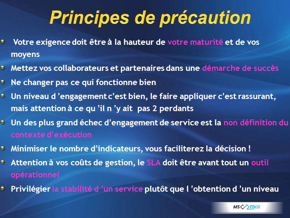Principes de précaution Votre exigence doit être à la hauteur de votre maturit é et de vos moyens Mettez vos collaborateurs et partenaires dans une d