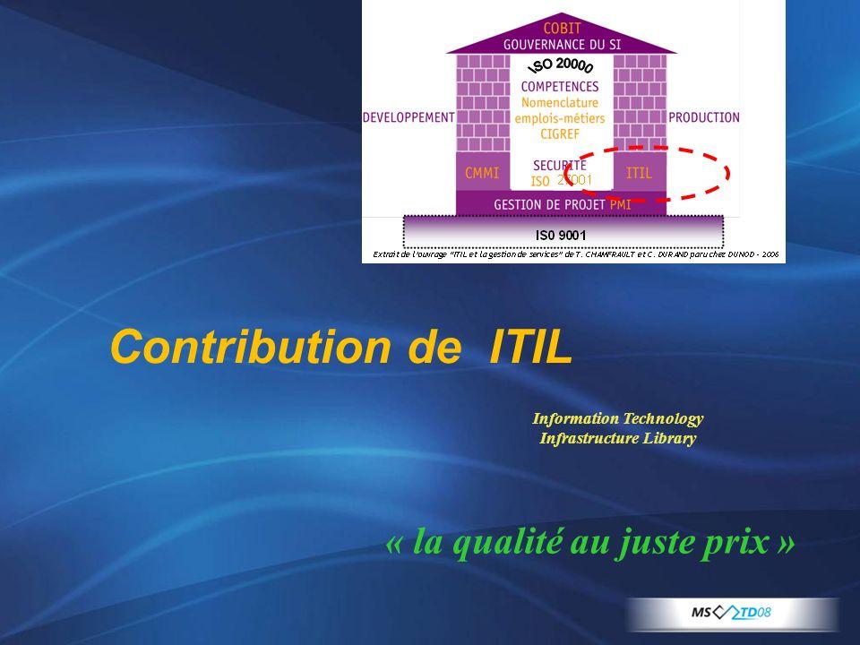 Contribution de ITIL Information Technology Infrastructure Library « la qualité au juste prix »