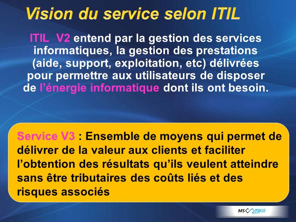 ITIL V2 entend par la gestion des services informatiques, la gestion des prestations (aide, support, exploitation, etc) délivrées pour permettre aux u