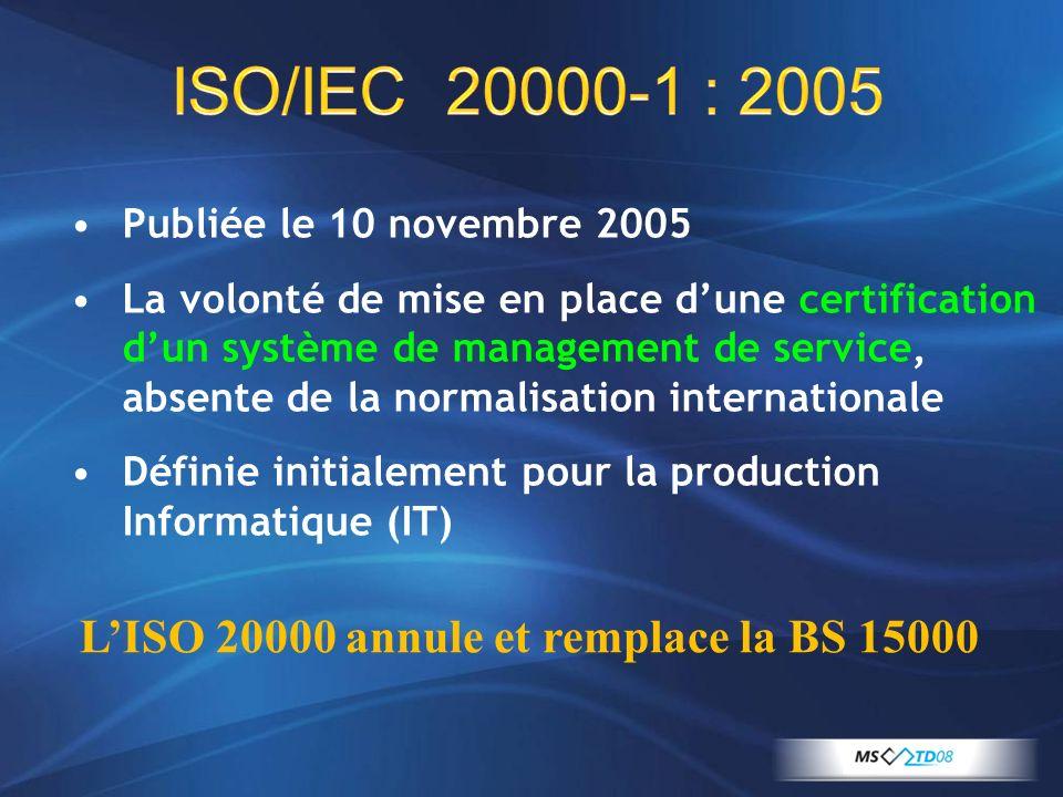 ISO/IEC 20000-1 : 2005 Publiée le 10 novembre 2005 La volonté de mise en place dune certification dun système de management de service, absente de la