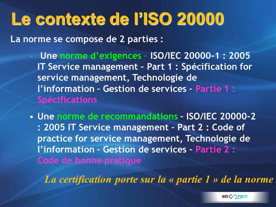 La norme se compose de 2 parties : Une norme dexigences – ISO/IEC 20000-1 : 2005 IT Service management – Part 1 : Spécification for service management