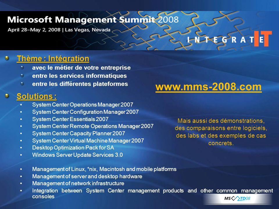 Thème : Intégration avec le métier de votre entreprise entre les services informatiques entre les différentes plateformes Solutions : System Center Op