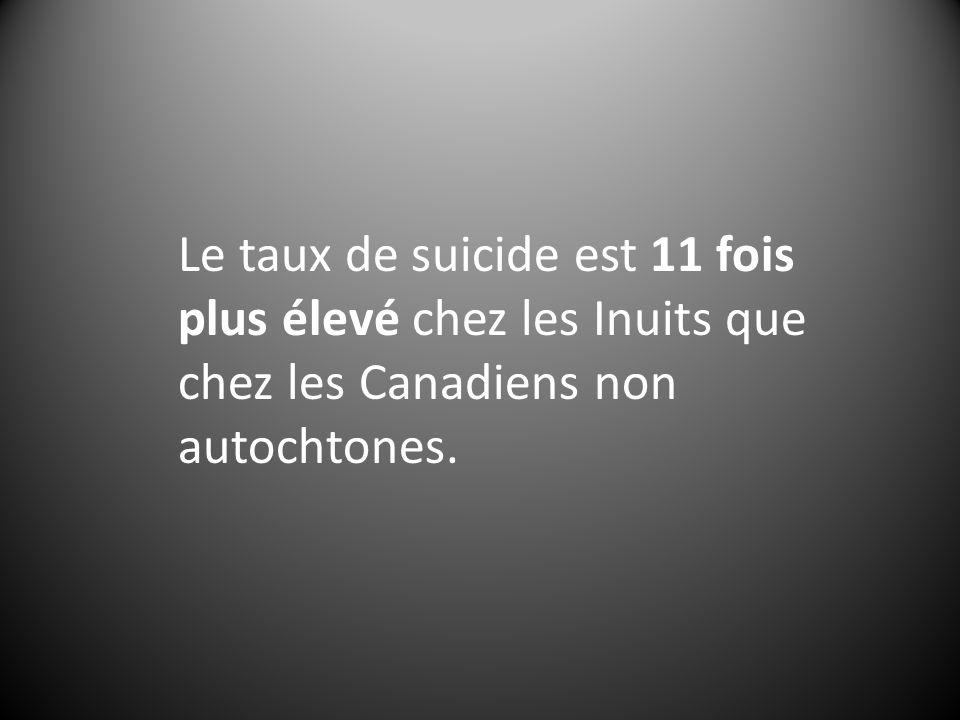Le taux de suicide est 11 fois plus élevé chez les Inuits que chez les Canadiens non autochtones.