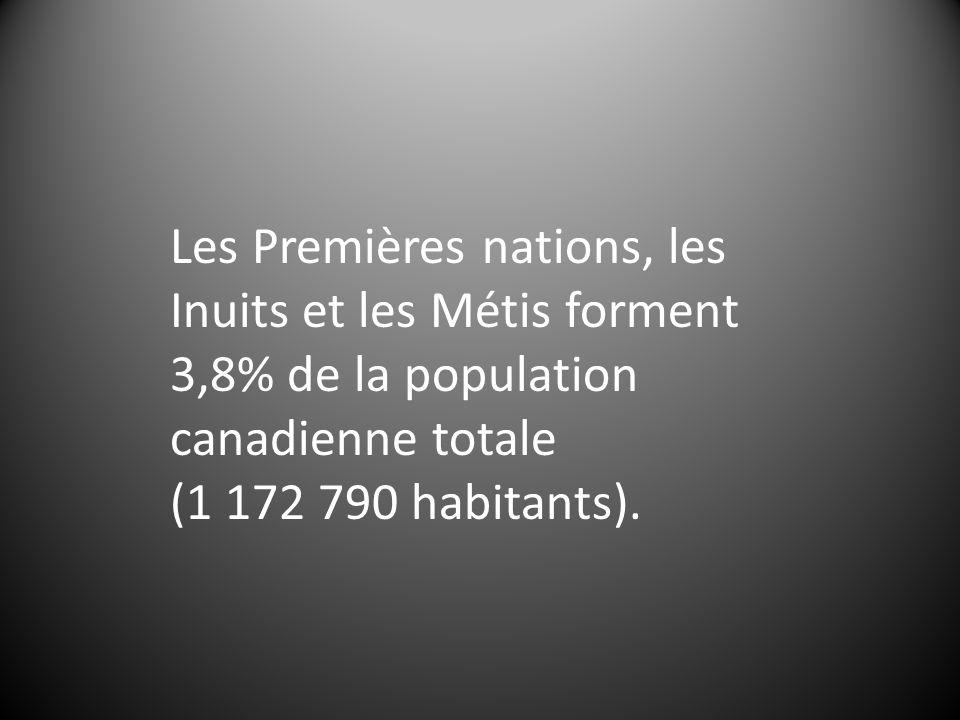Les Premières nations, les Inuits et les Métis forment 3,8% de la population canadienne totale (1 172 790 habitants).