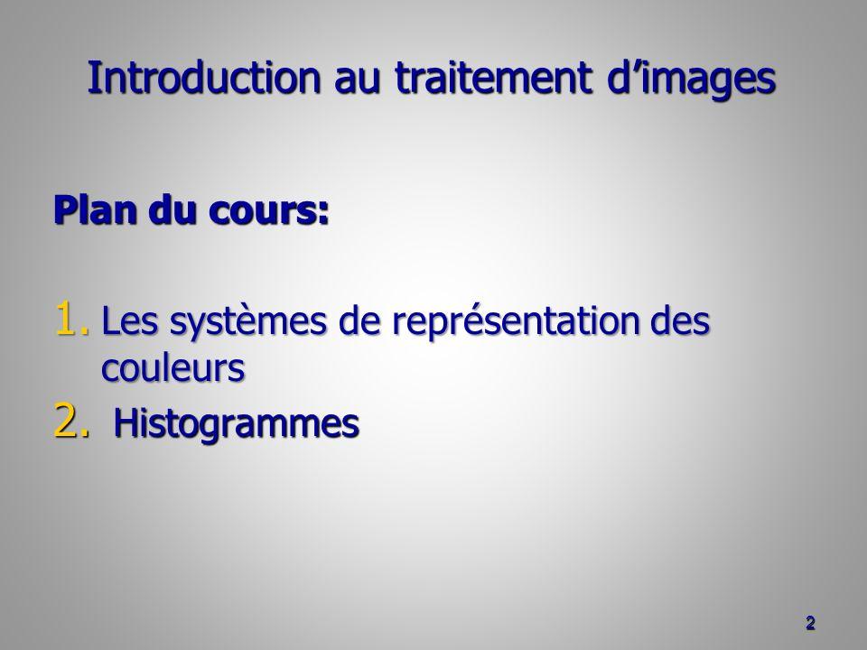 Introduction au traitement dimages Plan du cours: 1. Les systèmes de représentation des couleurs 2. Histogrammes 2