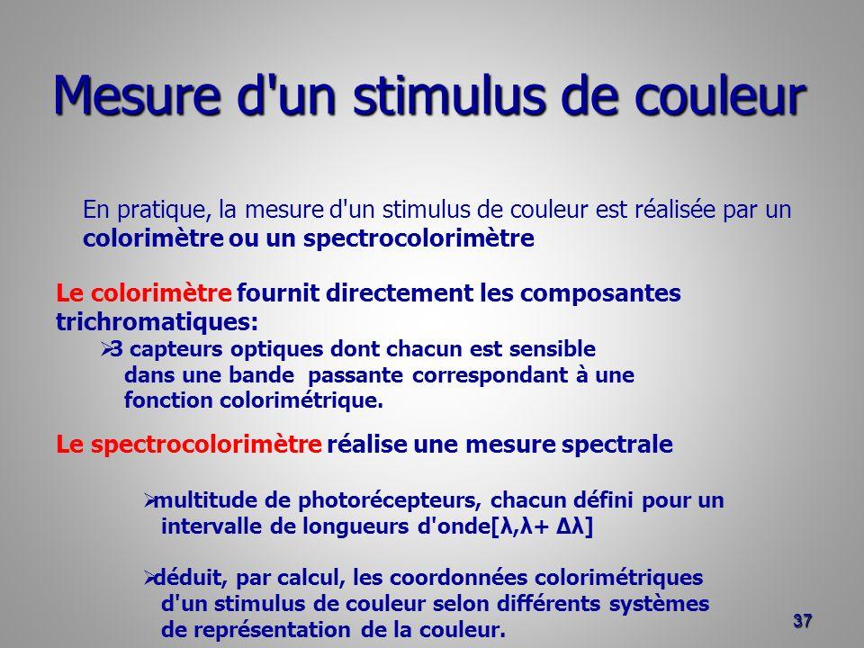 Mesure d'un stimulus de couleur 37 En pratique, la mesure d'un stimulus de couleur est réalisée par un colorimètre ou un spectrocolorimètre Le colorim