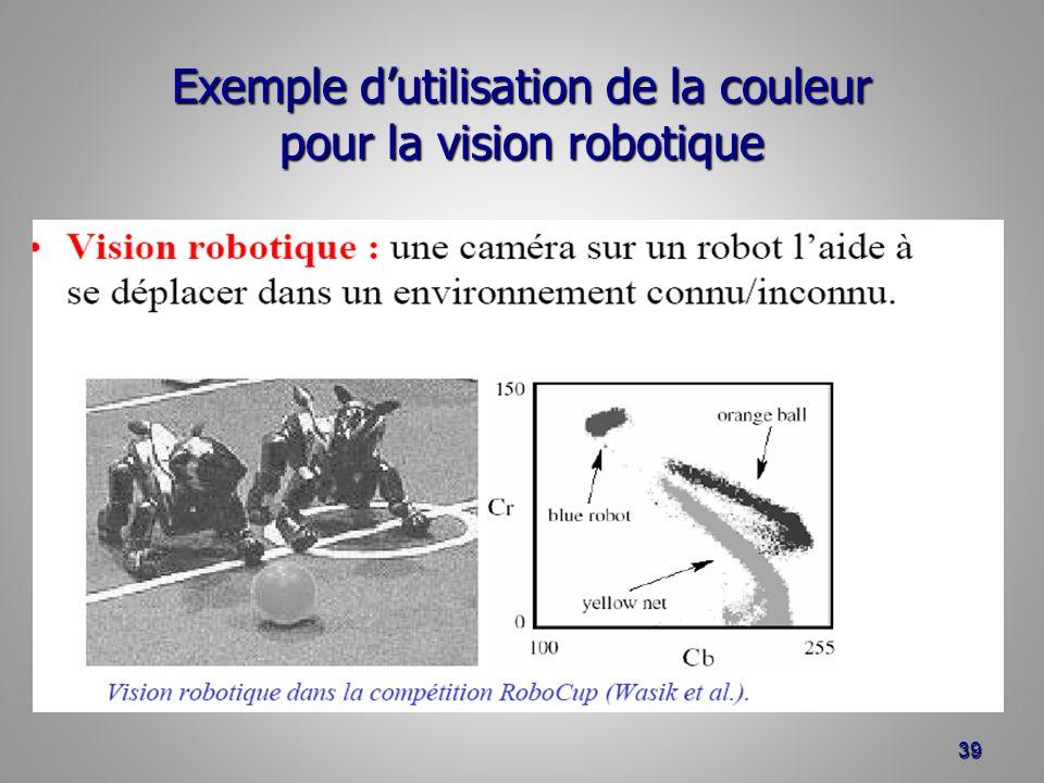 Exemple dutilisation de la couleur pour la vision robotique 39