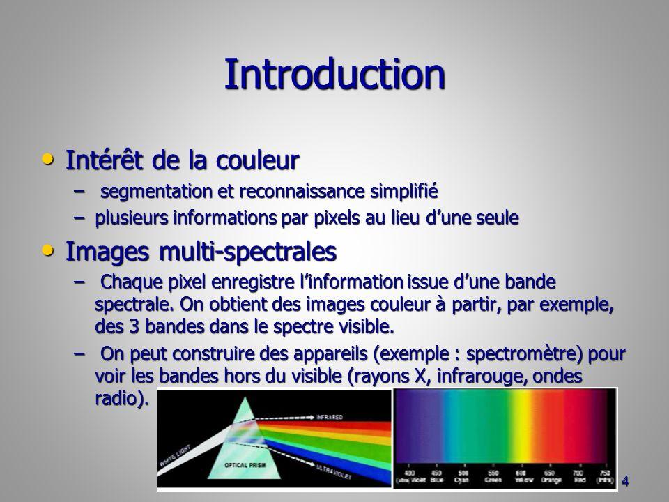 Introduction Intérêt de la couleur Intérêt de la couleur – segmentation et reconnaissance simplifié –plusieurs informations par pixels au lieu dune se