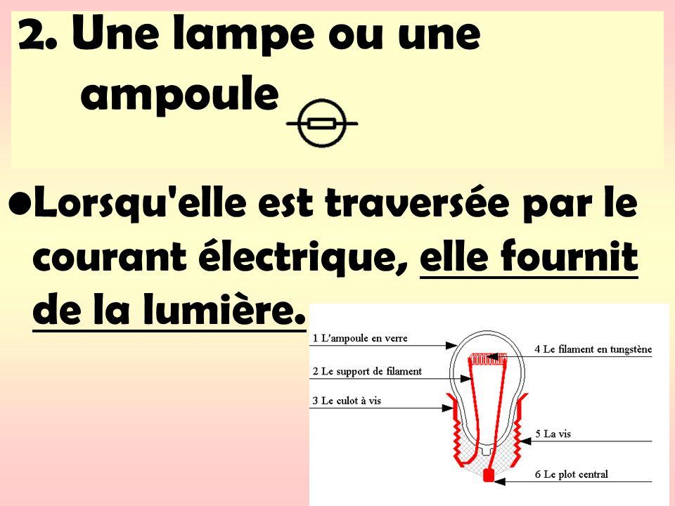 2. Une lampe ou une ampoule Lorsqu'elle est traversée par le courant électrique, elle fournit de la lumière.