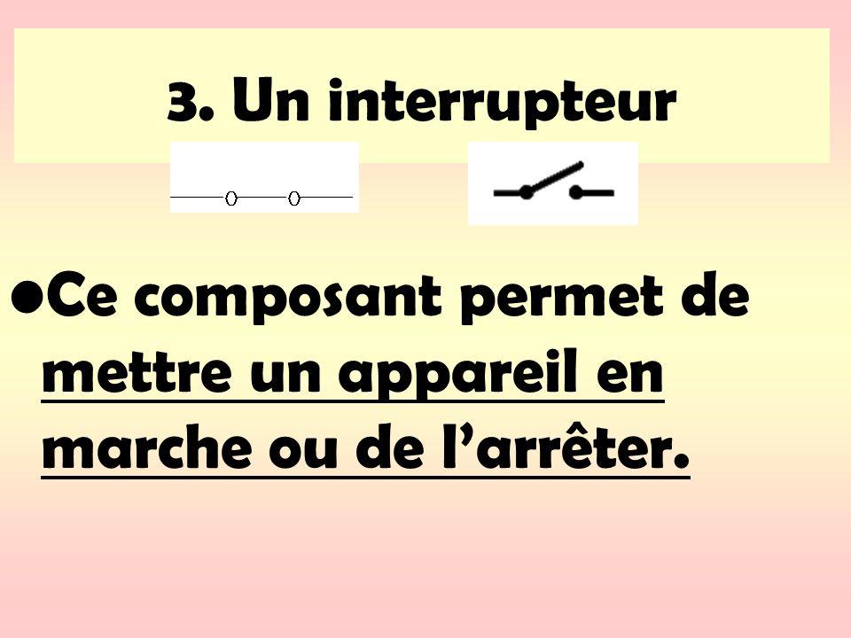 3. Un interrupteur Ce composant permet de mettre un appareil en marche ou de larrêter.
