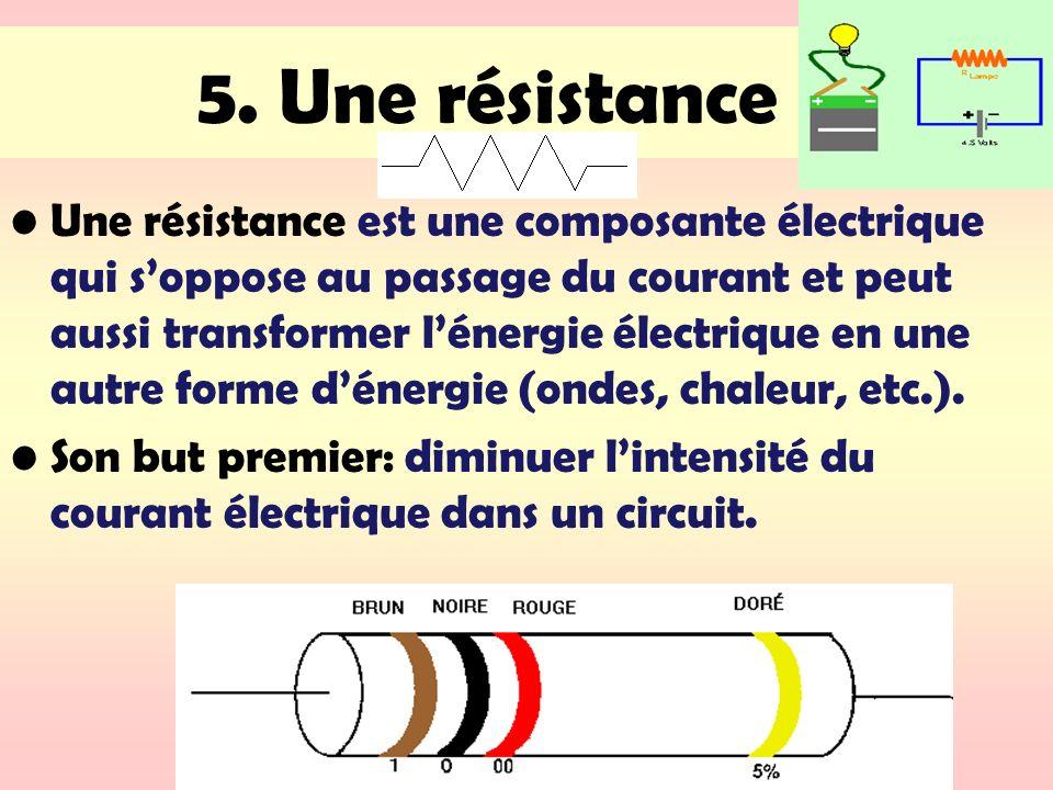 5. Une résistance Une résistance est une composante électrique qui soppose au passage du courant et peut aussi transformer lénergie électrique en une