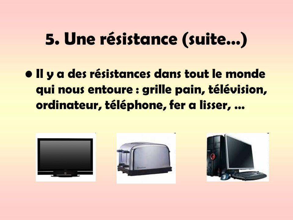 5. Une résistance (suite…) Il y a des résistances dans tout le monde qui nous entoure : grille pain, télévision, ordinateur, téléphone, fer a lisser,