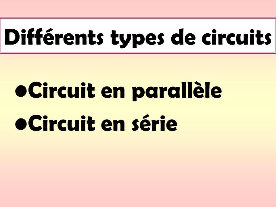 Différents types de circuits Circuit en parallèle Circuit en série