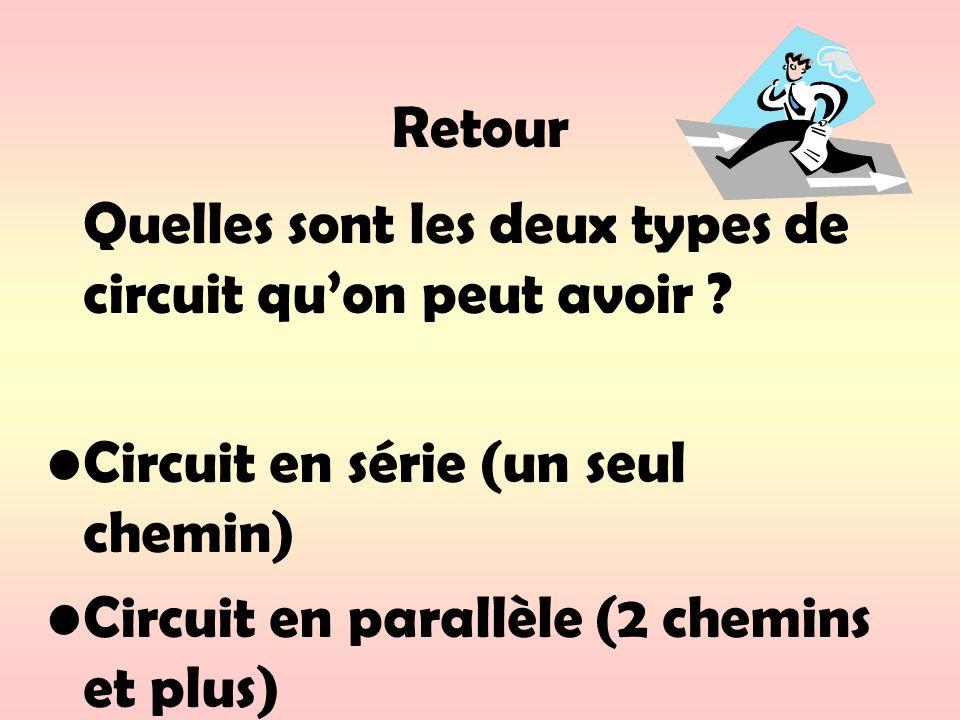 Retour Quelles sont les deux types de circuit quon peut avoir ? Circuit en série (un seul chemin) Circuit en parallèle (2 chemins et plus)